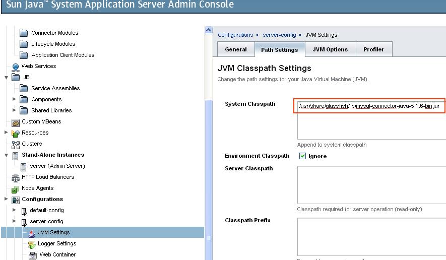 classpath pour driver MySQL sur Glassfish